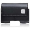 Black Horizontal Leather Pouch Case With Fixed Spring Belt Clip